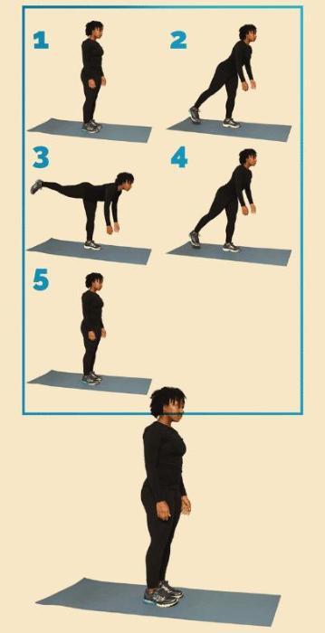 12 вправ, щоб привести себе у форму: Тяга на одній нозі Правильно Спина рівна. Черевний прес напружений. Вага рівномірно