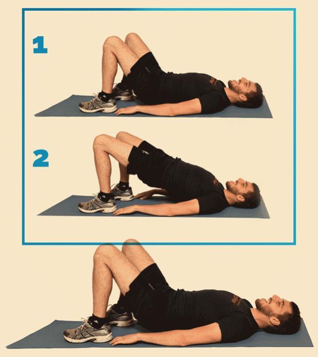 12 вправ, щоб привести себе у форму: сідничні міст Правильно Ляжте на спину. Ступні повністю стосуються статі, ноги на ширині