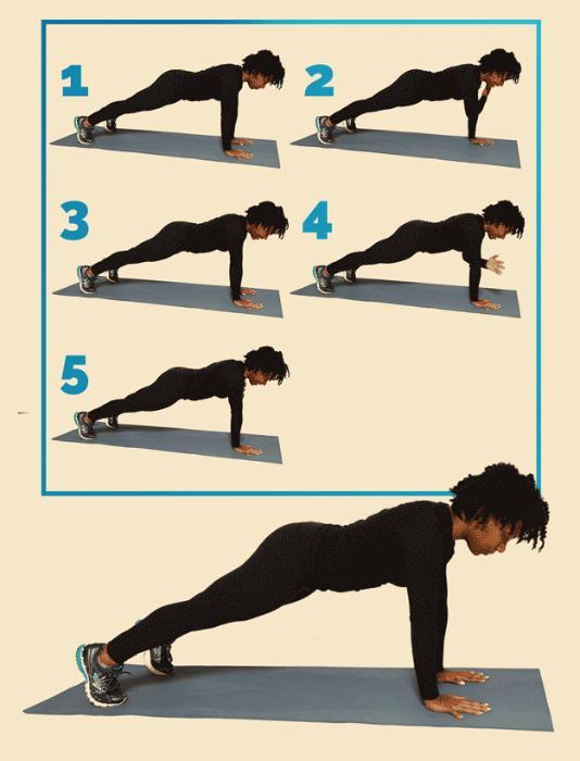 12 вправ, щоб привести себе у форму: Планка з бавовною Правильно Почніть з позиції планки. Хлопніть по лівому плечу правої