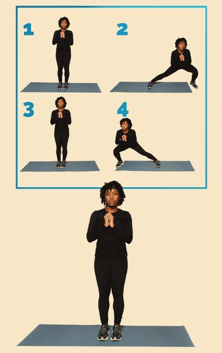 12 вправ, щоб привести себе у форму: Бічний випад Правильно Тримайте грудну клітку прямо. Перенесіть вагу в сторону за допомогою