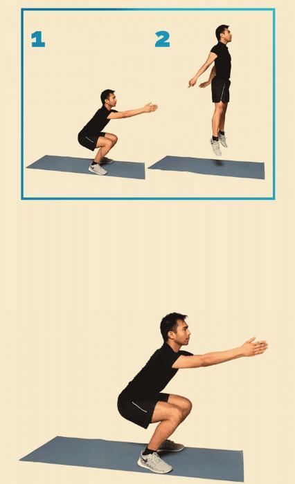 12 вправ, щоб привести себе у форму: Присідання зі стрибком Правильно Виконайте присідання, стегна паралельні підлозі. Тримайте грудну клітку прямо.