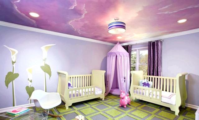 15 ідей для створення казкової дитячої кімнати: Розпис стелі - оригінальна ідея для оформлення не тільки дорослому, а й дитячої кімнати. Її можна виконати в незвичайних відтінках