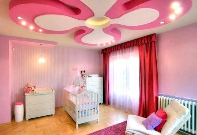 15 ідей для створення казкової дитячої кімнати: Багаторівневий стеля можна створювати не тільки у вітальні - в дитячій кімнаті буде доречна форма у вигляді великої квітки.