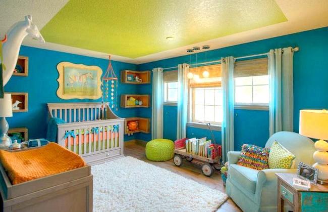 15 ідей для створення казкової дитячої кімнати: Дуже позитивно і яскраво буде виглядати кімната, інтер'єр якої побудований на поєднанні яскраво-салатового і бірюзового кольору.