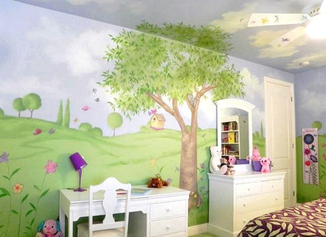15 ідей для створення казкової дитячої кімнати: Щоб повністю занурити кімнату в казкову атмосферу, варто виконати розпис стін - виглядати це буде приголомшливо.