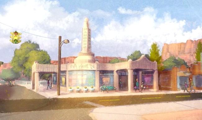 15 місць, що надихнули Діснея на створення їх копій: Майстерня Рамона з мультфільму «Тачки». Прототип - заправка