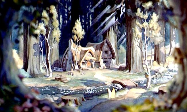 15 місць, що надихнули Діснея на створення їх копій: Будиночок семи гномів з мультфільму «Білосніжка і сім гномів». Прототип - будиночки в передмісті Лос-Анджелеса