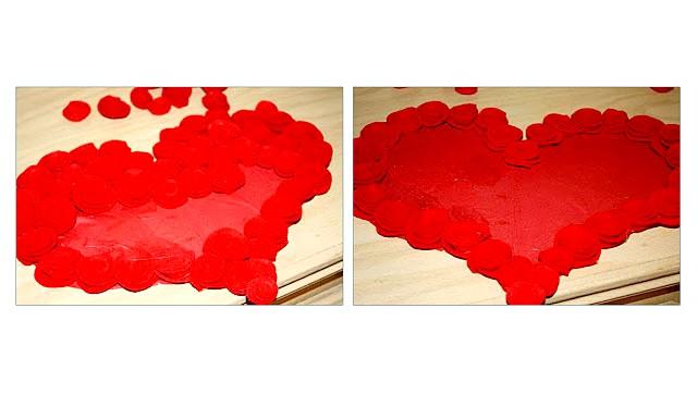 Робимо самі: Велике червоне серце: Крок 6: Після того, як наклеєні все трояндочки - це вже шедевр :) Але можна зробити його ще цікавіше, додавши