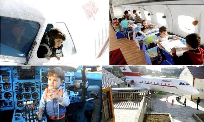 Дитячий садок на борту літака: Літак, на борту якого сьогодні мешкають дітлахи, до недавнього часу був власністю компанії Georgian Airways. Його викупив директор дитсадка, Гарі