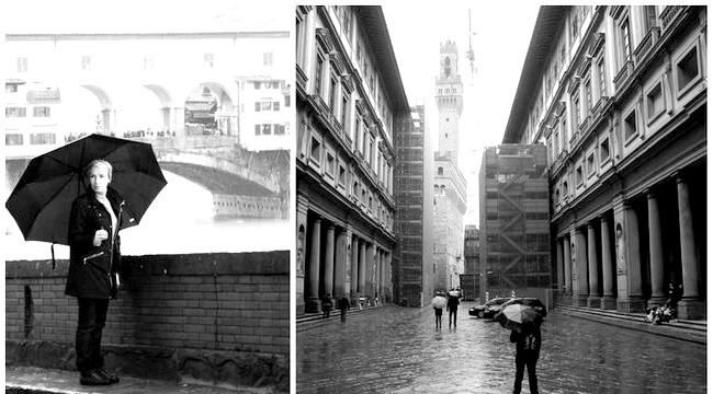 Дощова Флоренція: Галерея Уффіці, Вид на Palazzo Vecchio (Палаццо-Веккьо) і на міст Веккьо (Ponte Vecchio)
