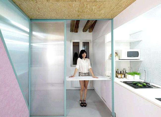 Іспанська мінімалізм: як жити в квартирі без меблів: А за рахунок легких перегородок можна буквально за п'ять хвилин спорудити тут гостьову спальню, відокремити кухню від вітальні або, навпаки,