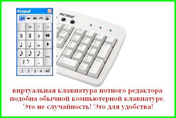 віртуальна клавіатура в програмі Sibelius співвідноситься зі звичайною клавіатурою комп'ютера для зручності