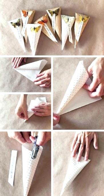 Як зробити оригінальні подарункові пакети своїми руками: Крок 1из подарункового паперу робимо конус у формі воронки, а щоб він не відкрився, фіксуємо місце