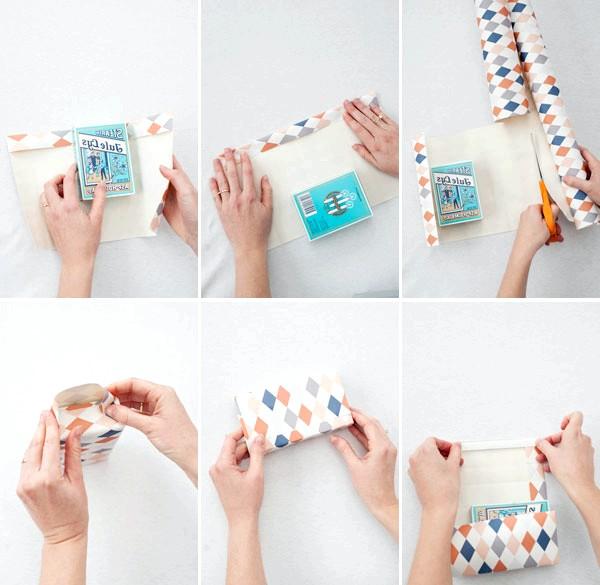 Як зробити оригінальні подарункові пакети своїми руками: Крок 1Подарочной папером обертаємо маленьку книжку, краю, фіксуючи скотчем, при цьому одну сторону не склеюємо.