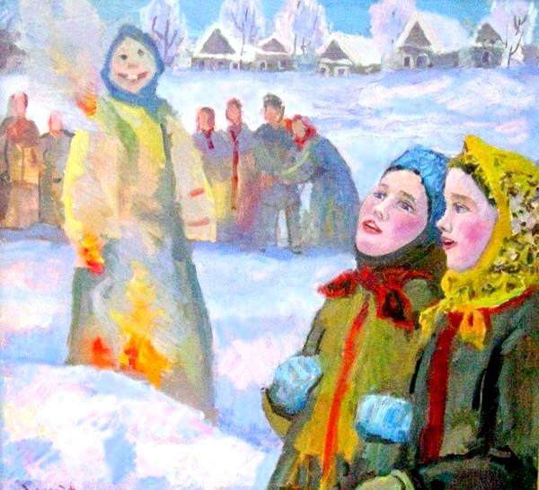 Масляна в живописі: [i] Ніна Сергеєва «Спалювання масниці» [/ i]