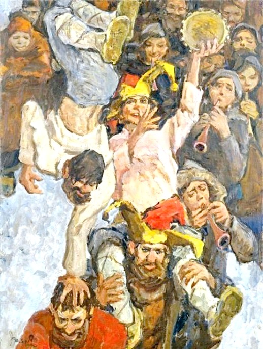 Масляна в живописі: [i] Лев Русов «Скоморохи» [/ i]