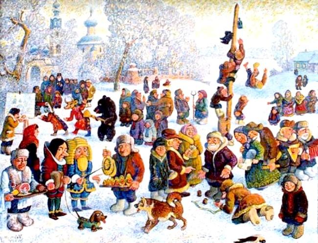 Масляна в живописі: [i] Сирів Валерій «Ярмарок в Здемірово» [/ i]