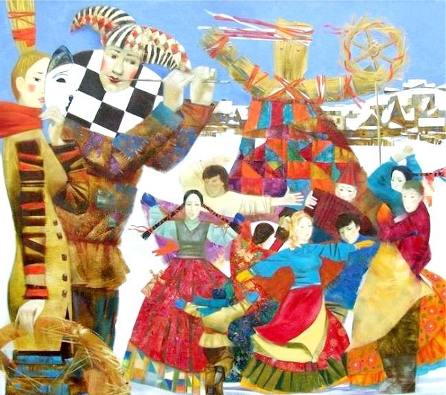 Масляна в живописі: [i] Ольга Ларіонова «Масляна» [/ i]