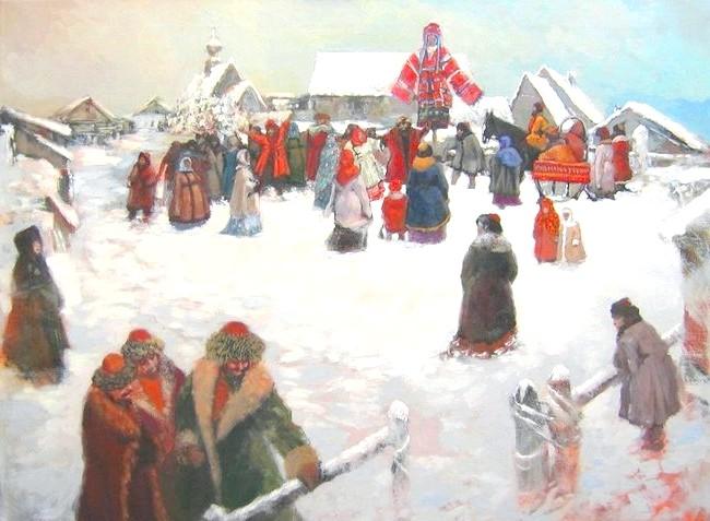 Масляна в живописі: [i] Володимир Рябчиков «Масляна» [/ i]