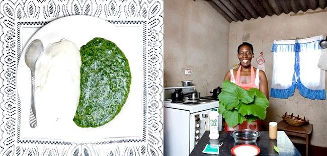 Світові бабусі: Вікторія Фолс, Зімбабве. Бабуся: Флатар Нкубе, 52 роки. Блюдо: садза (біла маїсова борошно) і листя гарбуза, обварені в арахісове олії.