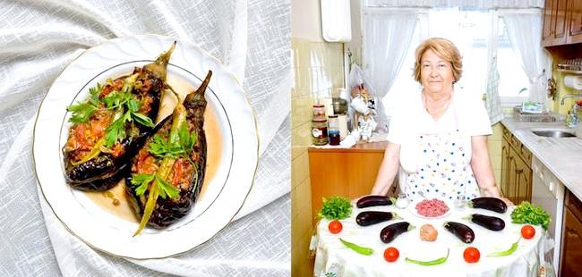 Світові бабусі: Стамбул, Туреччина. Бабуся: Айтен Окгу, 76 років. Блюдо: карніярік (фаршировані баклажани з м'ясом і овочами)