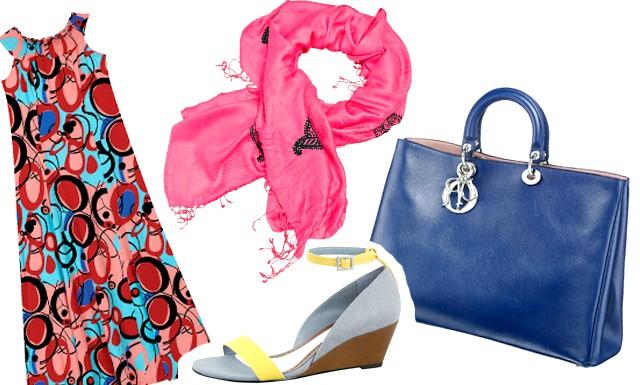 Модне літо - 2012: як бути в тренді ?: [i] Сумка DIOR, ціна: за запитом, Сукня FiNN FLARE, ціна: 2190 руб., Босоніжки Lela Rose for Payless, ціна: 2190