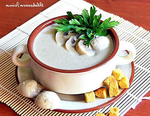 Молочний суп-пюре з печерицями: МОЛОЧНИЙ СУП-ПЮРЕ З ШАМПІНЬОНАМІІнгредіенти: - 1л молока - 1 цибулина;