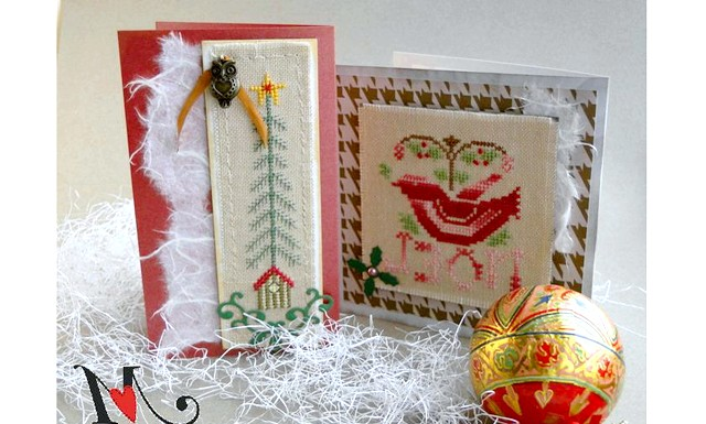 Новорічні подарунки та листівки з вишивкою: Листівки в рустикальном стилі з наївними дизайнами.