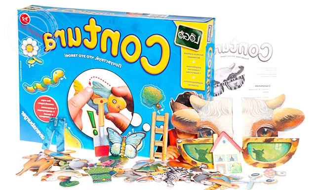 Огляд дитячих настільних ігор: 10. Сенсорний розвиток (слух, зір, дотик) Контури (від 3 років) Надівши маску, гравцям