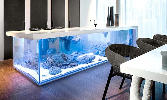 Величезний акваріум, вбудований в кухонний острів: Місць для великих акваріумів в квартирі можна придумати чимало. Їх вбудовують в міжкімнатні перегородки, стіни і окремо стоять колони;