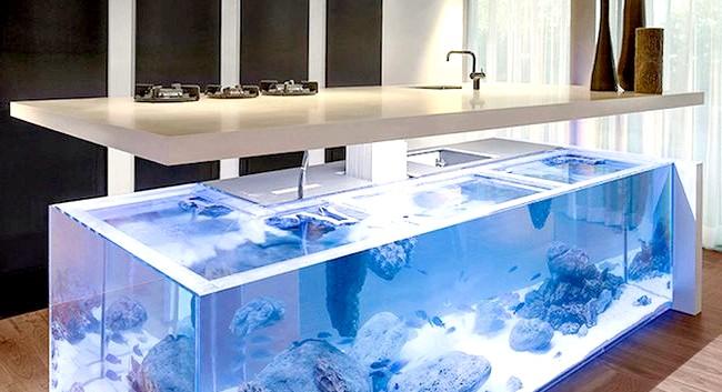 Величезний акваріум, вбудований в кухонний острів: Аквариум має «Г» подібну форму. Крім нього, в кухонний острів вбудований зручний відсік для зберігання начиння, а зверху розташована масивна