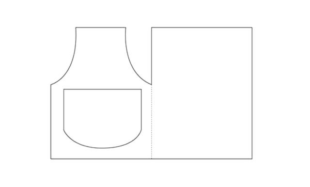 Листівки для бабусі й мами до 8 Березня: З паперу іншого кольору виріжте кишеньки для фартуха - великий і маленький. З мережива або тканини зробіть рюші, які з