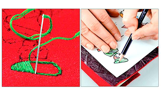 Подарунок на 23 лютого своїми руками: брелок погон: 2. Акуратно натягніть фетр бордового кольору на п'яльці. Вишийте на фетрі малюнок у техніці