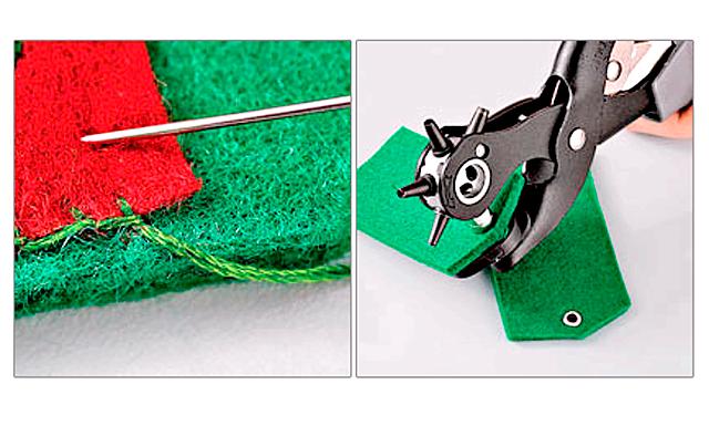 Подарунок на 23 лютого своїми руками: брелок погон: 4. Пришийте фетр з вишивкою до однієї заготівлі із зеленого фетру потайним швом.5. Зробіть на інший