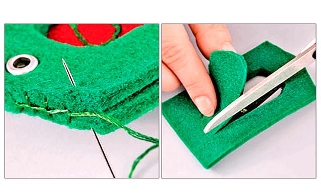 Подарунок на 23 лютого своїми руками: брелок погон: 6. Складіть деталі разом і зшийте їх вручну швом
