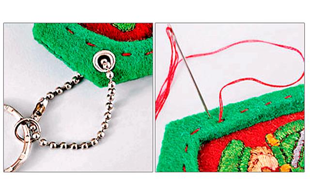 Подарунок на 23 лютого своїми руками: брелок погон: 8. Вставте в отвір ланцюжок з кільцем для брелока.