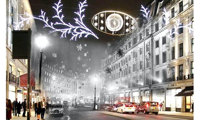 Різдво через призму часу: Лондонська Ріджент-стріт, сучасність і 1955