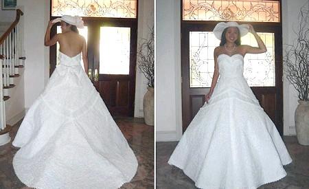 Самі екстравагантні вбрання наречених: Чи не правда це весільне плаття вельми чарівне? Однак досить складно здогадатися, що воно повністю зроблено з туалетного паперу, стрічки