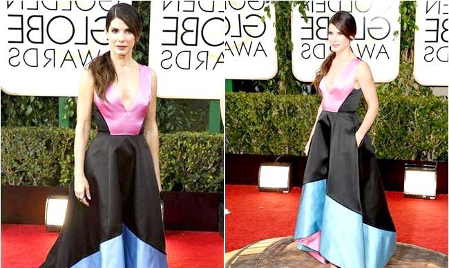 Найневдаліші образи, представлені на червоній доріжці: Сандра Баллок - церемонія «Золотий глобус» 2014 До того як Сандра Баллок з'явилася в різнобарвному плаття