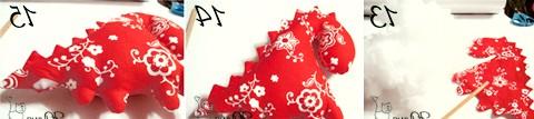Текстильні дракончики до нового року: 16. Схема потайного шва. Стрілкою відзначено напрям ходу шва та голки.