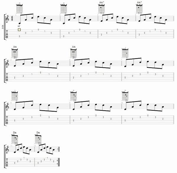 соедніеніе акордів Am і Dm на гітарі