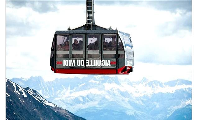 Вершина Aiguille Du Midi - 3842 метри над рівнем моря: Вагончик вмешает 40 пасажирів, а за годину канатка може підняти на вершину до 550 чоловік. Вартість квитка за схемою