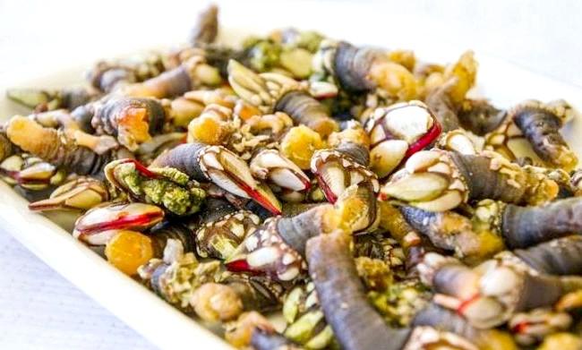 Головні страви та продукти різних країн: Морська качечка, Галісія, ІспаніяЕто блюдо з ракоподібних, їх називають «percebes». Percebes чіпляється за скелясту берегову лінію Галісії.