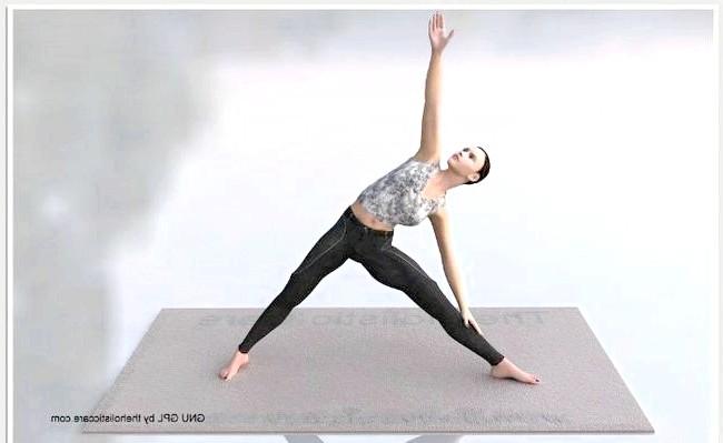 Йога для початківців: Вправа № 3Поза трикутника (тріконасана) - зменшує жирові відкладення, розширює груди, благотворний вплив на спинний мозок.