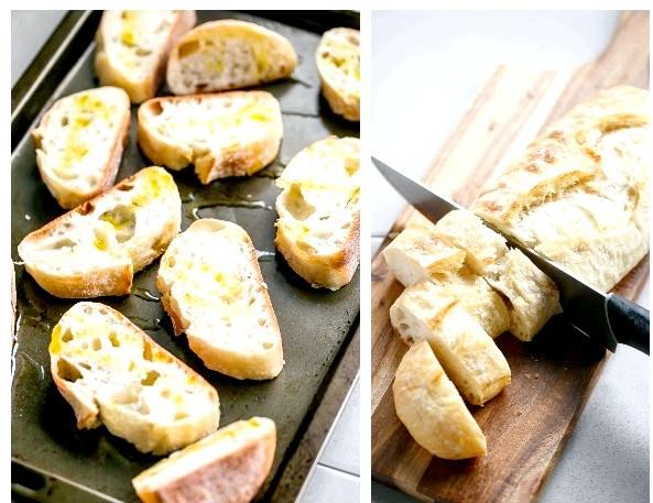 Кростіні з авокадо, креветками і часником: Приготування: 1. Ріжемо багет на ломтікі.2. Розігріваємо духовку до 180 градусів. Застеляємо деко вощеного папером,