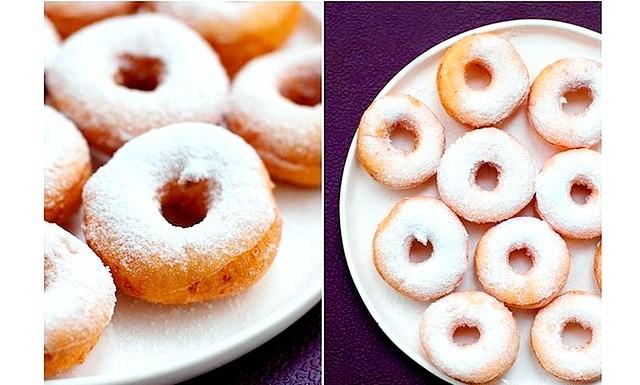 Сирні пончики: Інгредієнти: Сир - 250 г Борошно - 300 г Яйця - 2 шт. Цукор