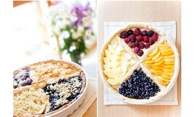 Чотирьохкольорового фруктовий пиріг: Інгредієнти (на форму 29 см): Тісто: 300 г борошна 120 г холодного масла, нарізаного кубиками