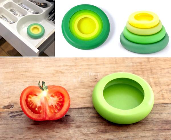 Зберігання розрізаних овочів і фруктів: Food Huggers так само зручні для використання в якості кришок для відкритих консервних банок або навіть склянок. Вони досить добре