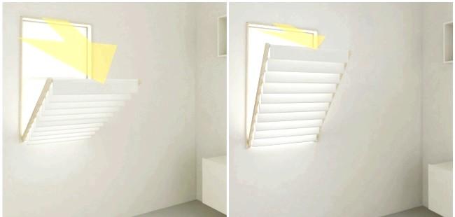Розумний дизайн для маленької квартири: Жалюзі - сушарка для одягу. Добре підходить для сушки невеликих речей.