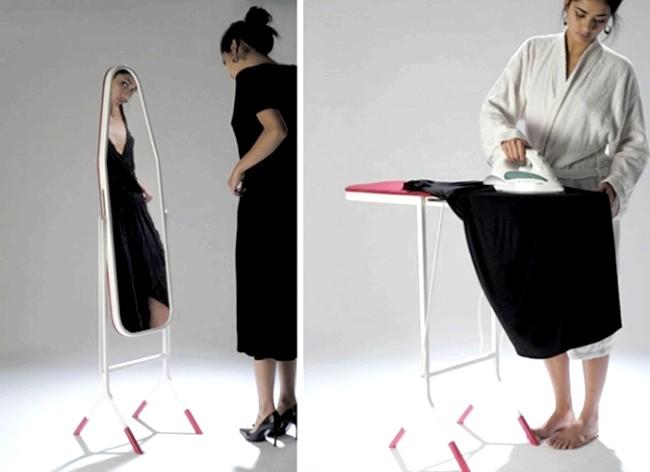 Розумний дизайн для маленької квартири: Прасувальна дошка-дзеркало.